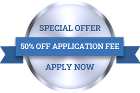Special Offer - 50% off application fee - apply now